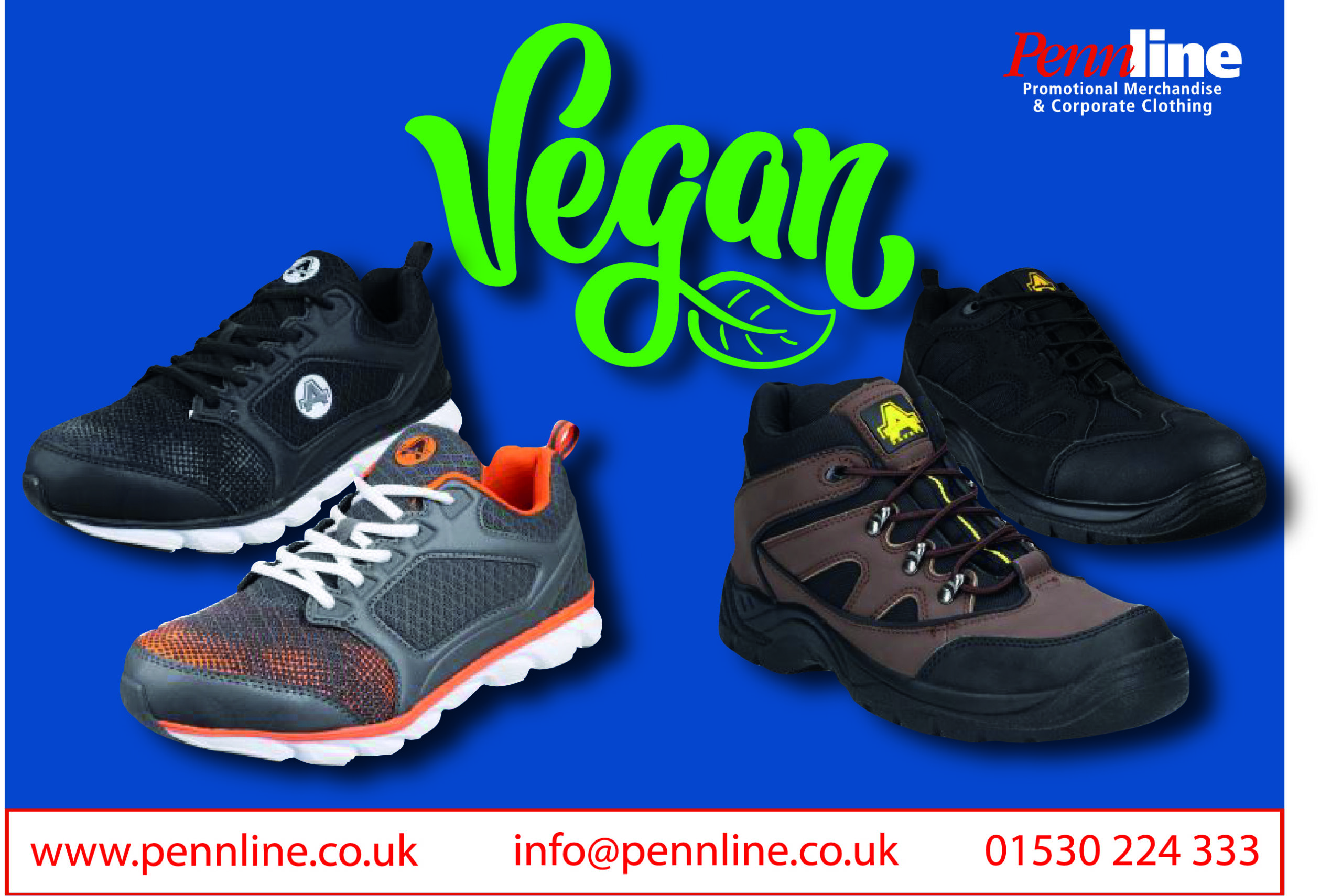 Vegan safety footwear including boots and trainers.